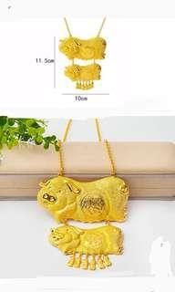 Wedding metal gold pig necklace 孖豬項鍊
