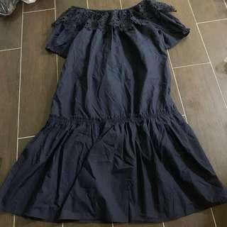 [2 for $22] THE EDITOR's MARKET navy blue off shoulder dress knee length