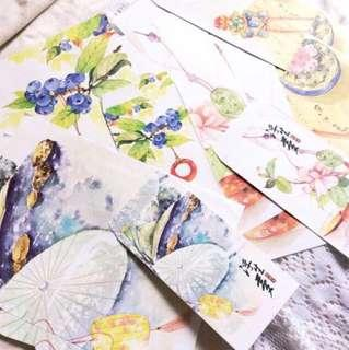 Papier (Set #24) - Set Of Oriental Themed Papers And Matching Envelopes.