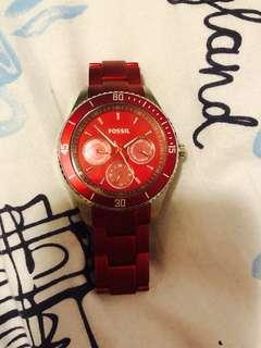 Fossil Watch Chronograph - Red