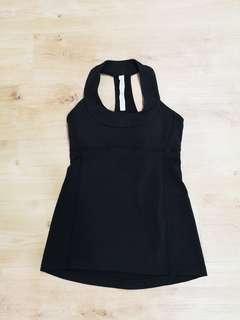 Lululemon Scoop Neck Black T Back Tank Top Size 4