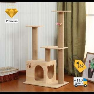 *INSTOCK* Premium Solid Wood Cat Condo Model A4 Cat Tree Cat playground scratch post furniture not cat bowl cat food cage kitten adoption