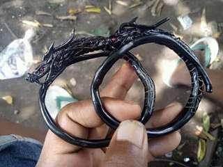 Gelang akar bahar hitam ukiran naga