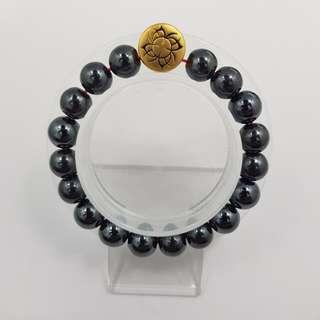 🚚 999 Pure Gold 'Power' Tattoo Charm with Hematite Beads Bracelet