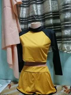 Mustard Rashguard Crop top with Shorts