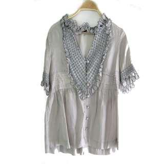Marc Jacobs Light Gray Silk Top