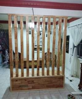Wood Partition With Cabinet