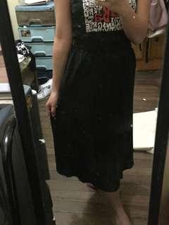 Black Silky Midi Skirt