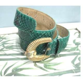Snakeskin Leather Belt Gold Buckle