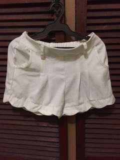 White Ruffled Shorts