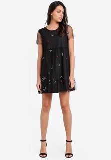 Something Borrowed Embroidered Mesh Babydoll Dress #STB50