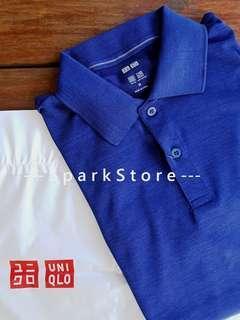 Uniqlo Kaos Polo Shirt Dry-EX Biru Tua