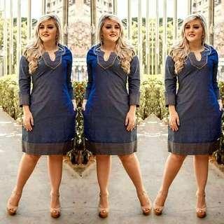 Elegant plus size denim dress