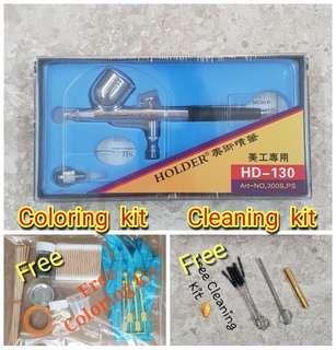 Airbrush MISB Dual Action (HD-130, 0.3mm) with free cleaning kit and coloring kit