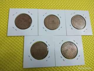 🌟硬幣🌟 香港英皇喬治五世 大一仙 5個年份齊全 G/VG