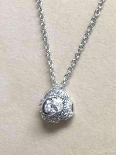 18k金天然鑽石 立體花朵鑽墜