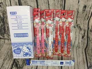 🚚 【雙畇媽咪】全新 現貨 日本製 エビス株式會社 3~6歲 1入 小孩款 兒童牙刷 小丸子款 KITTY款 紅色 幼兒園牙刷