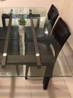Tempered glass + leather dining set & coffee table