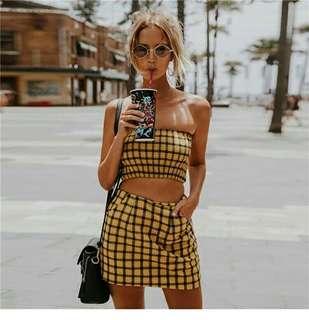 PO/Checkered top + skirt