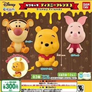 Bandai Capchara Disney Friends Part 3 Gashapon Pooh Tigger Piglet Set of 3pcs