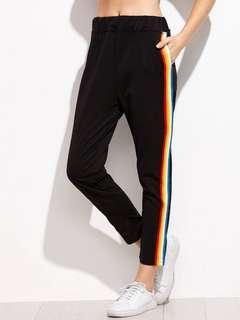 [instock] black ulzzang rainbow sweatpants