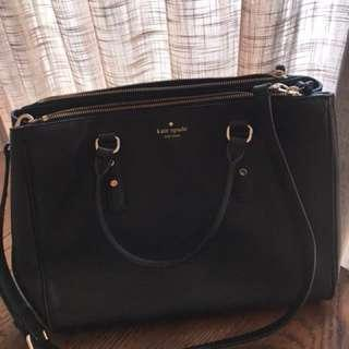 Authentic black leather kate spade bag for sale
