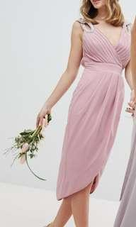 Petite Wrap Embellished Midi Dress