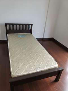Wooden single bed frame & mattress