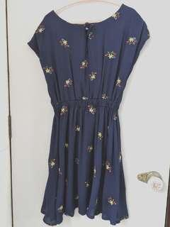 Cecil McBee Blue Dress with small floral print