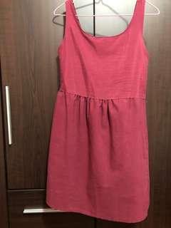 Simple maroon girl next door dress
