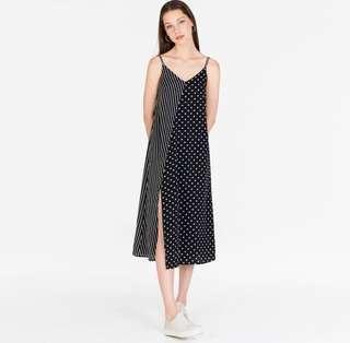 The Closet Lover Merci Stripes Polka Dotted Midi Dress