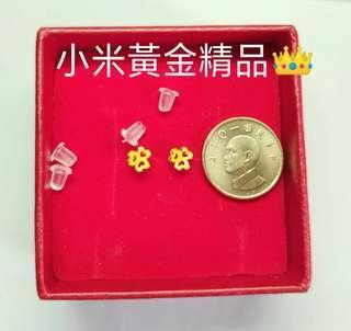 🚚 Gold衝評價👑黃金幸運草穿洞耳針式耳環蜜糖價1800金重0.27錢