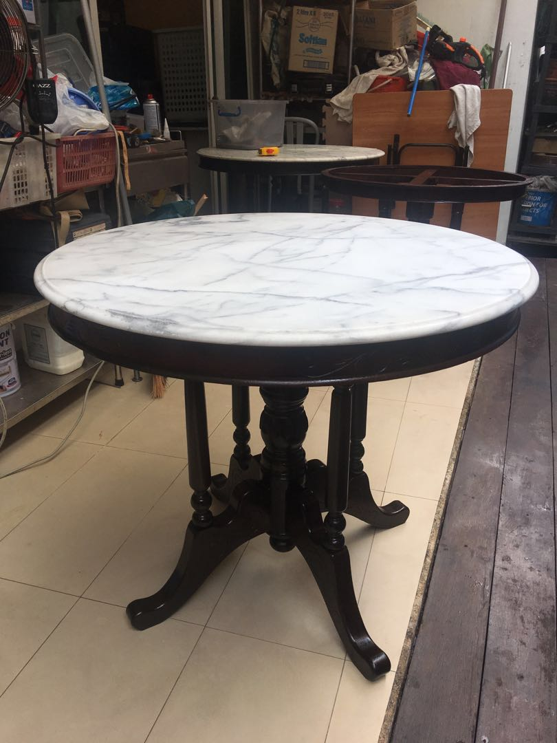 90 Cm Kopitiam Marble Teak Table Furniture Tables Chairs On Carousell