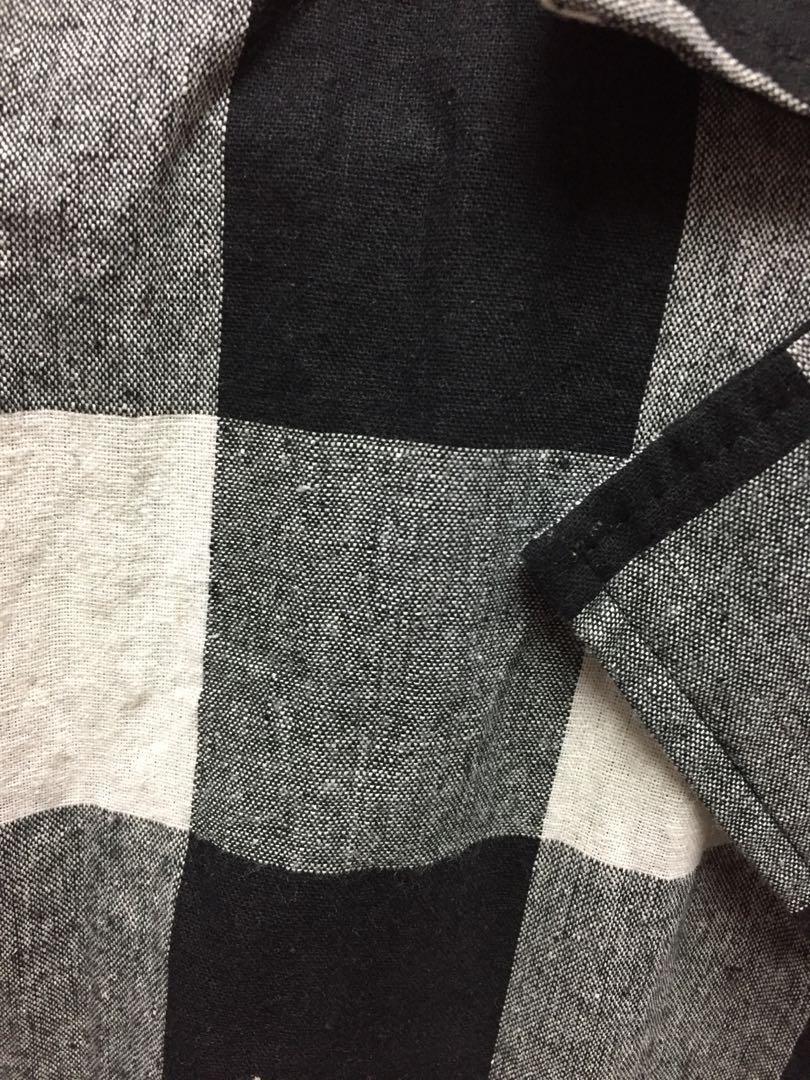 黑白相間長版薄外套