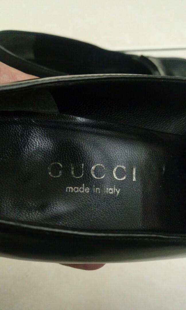 義大利製造 Gucci 粗跟高跟鞋 37.5 38 24