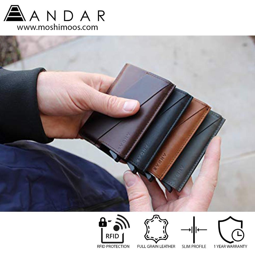 Best Selling Minimalist Card Holder Slim Wallet RFID blocking - Andar Pilot in Tan(Brown)