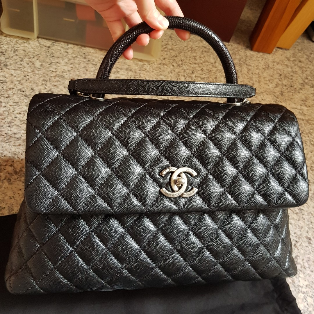 648f6be90e2a Authentic Full Set Chanel Coco Handle Large Black RHW, Luxury, Bags ...