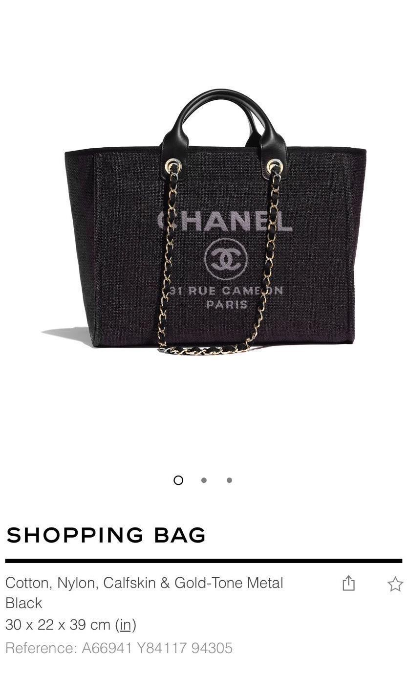 02990b5abfb2 AUTHENTIC PRE-LOVED Chanel Deauville Large Tote Shopping Bag Black ...