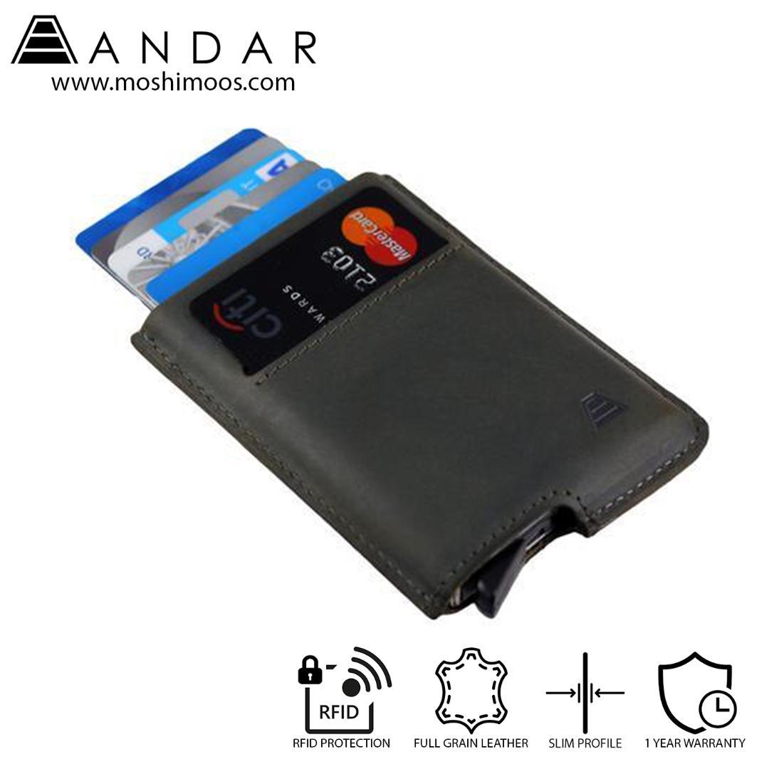Best Selling Minimalist Card Holder Slim Wallet RFID blocking - Andar Pilot in Olive Gray