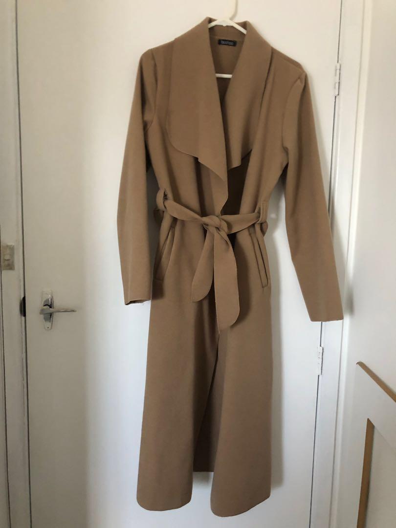 Camel long coat Boohoo