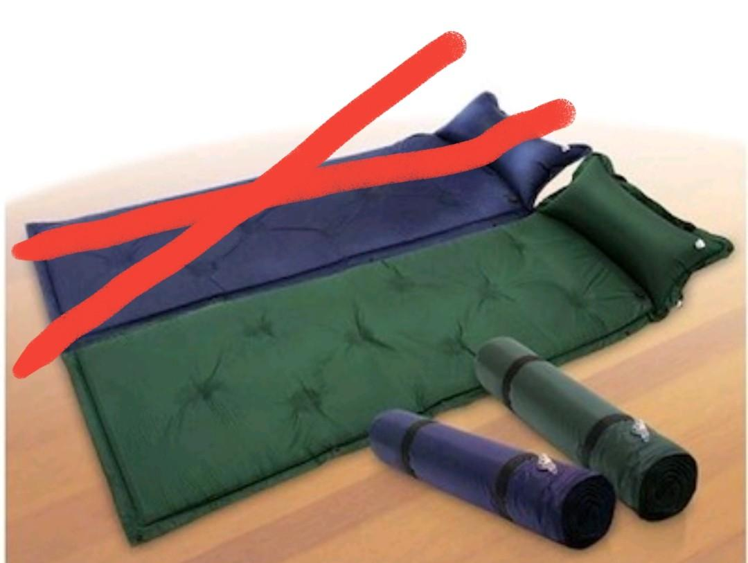 Camping self inflating air mattress with pillow compartment (only green colour available)