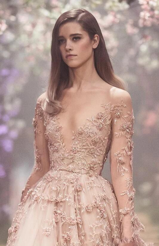 Champagne 3D Floral Long Sleeve Wedding Gowns 2018 Lace Applique Princess Puffy Country Garden Bridal Party Dresses Custom Made