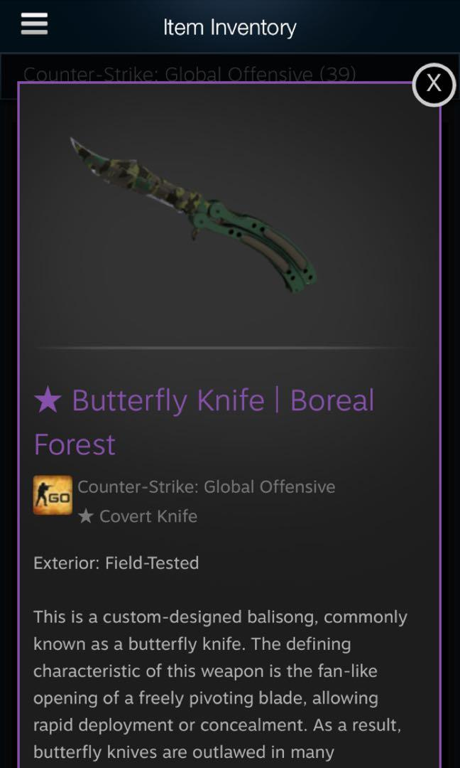 Csgo Skins (WTT/WTS) BUTTERFLY KNIFE, Toys & Games, Video