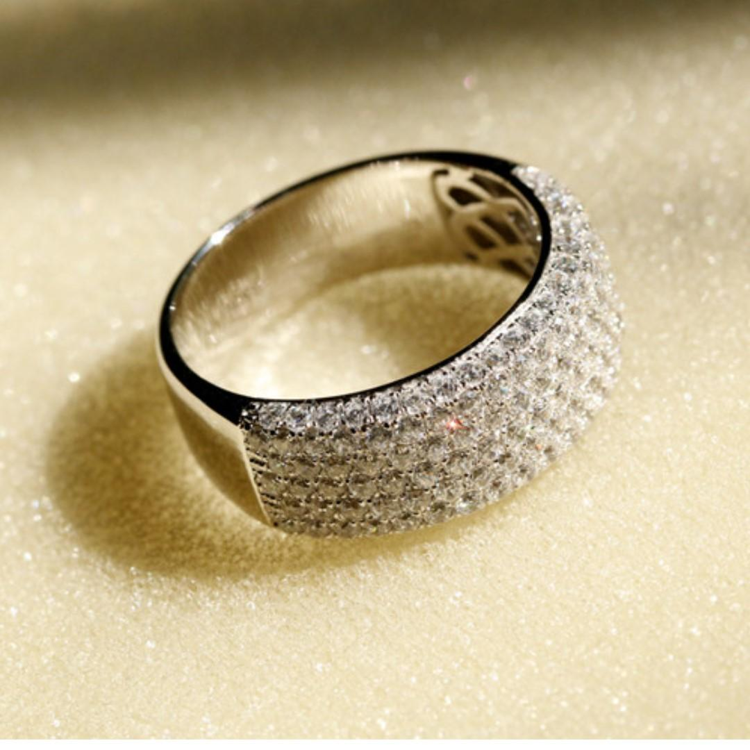 Deluxe Full drill Ring diamond rings refer to men and women 925 sterling silver gilded simulation diamond ring couple ring index finger ring