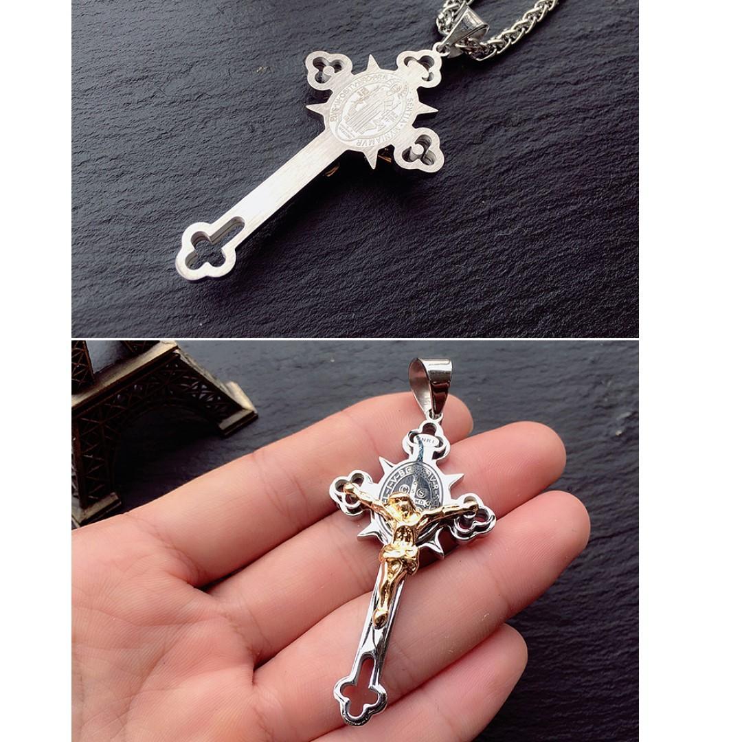 """Destiny"" Titanium steel cross necklace men and women boomers Catholic Jesus pendant"