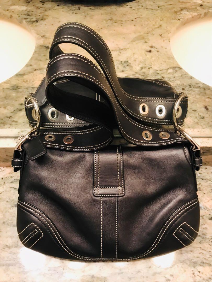 EUC Authentic Coach Shoulder/Handbag Purse Black Leather Short Strap