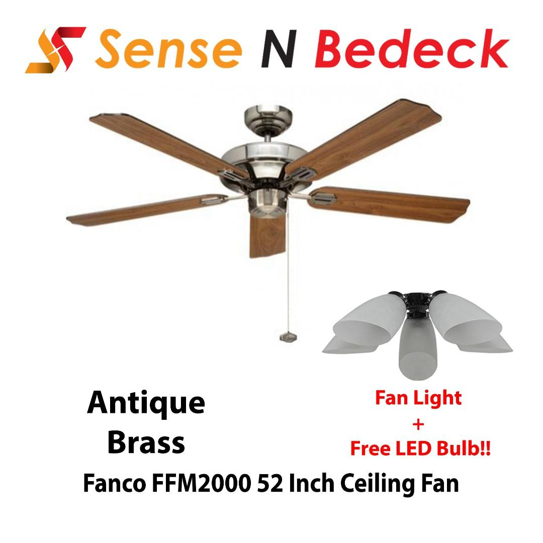 Fanco Ffm2000 52 Inch Ceiling With Fan Lights 5 Bulbs Home Appliances Cooling Air Care On Carousell
