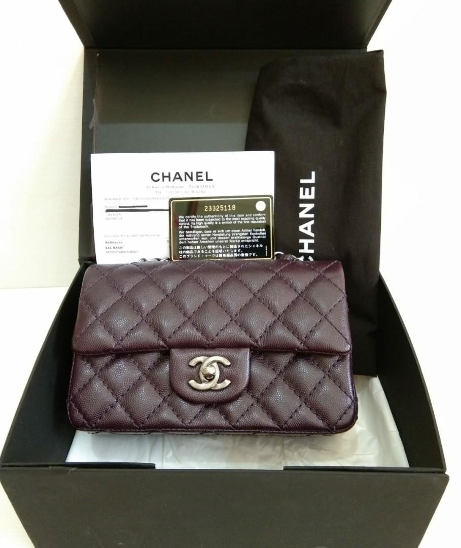 Fast Sale! Chanel Mini Rectangle Dark Purple Cav RHW #23 comes with holo, c4rd, dust bag, box and ori receipt Paris Aug'16 zip msh sealed (20x6x12cm) • very good condition