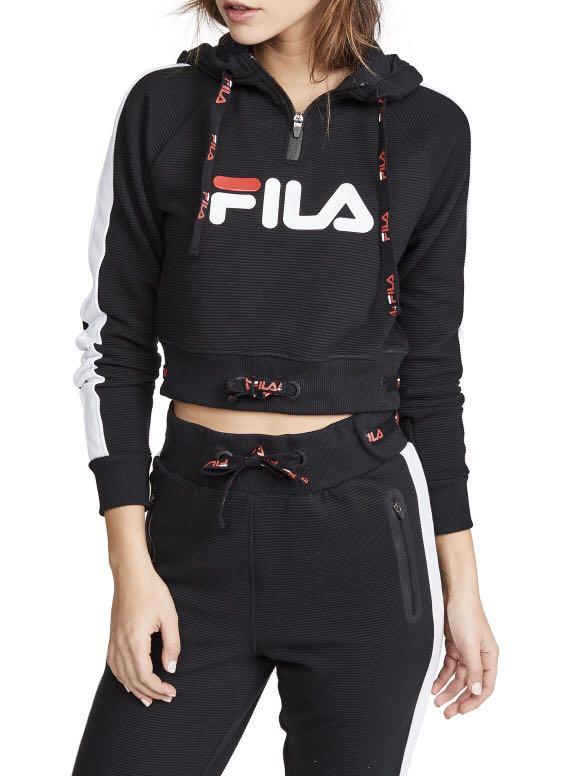 6c34e7ab4234 Fila Ladies Black/White Logo Hoodie, Women's Fashion, Clothes ...