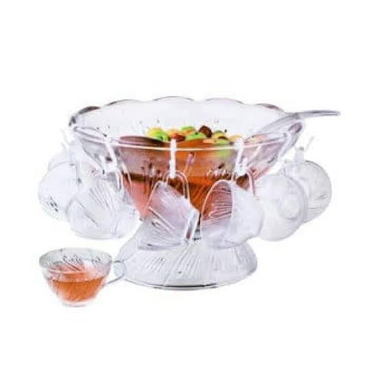 Gelas Krishome Set Punch Bowl Crystal